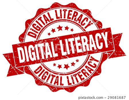 digital literacy stamp. sign. seal 29081687