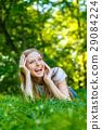 female, woman, meadow 29084224