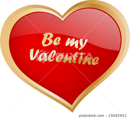 "glossy heart with ""be my valentine"" text 29085601"