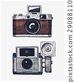Photo camera vintage, engraved hand drawn in 29088110