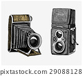 Photo camera vintage, engraved hand drawn in 29088128