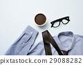 coffee, eyeglasses, tie and shirt 29088282