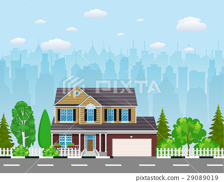 Private suburban house with trees, 29089019