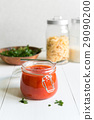 Tomato Sauce In Jar On White Wooden Table 29090200