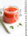Tomato Sauce In Jar On White Wooden Table 29090201