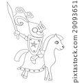 knight with sword riding on a horse 29093651