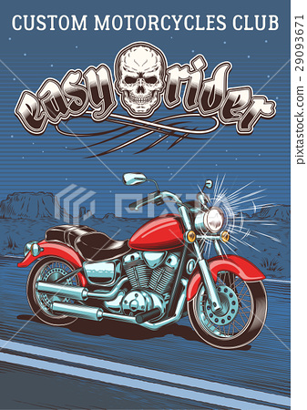 Vintage motorcycle on the background of the night 29093671