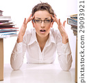 Stressed employee in the office -isolated 29093921