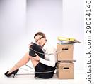 brunette as a shepherd in an urban scenery 29094146