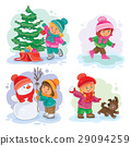 Set winter icons with little children 29094259