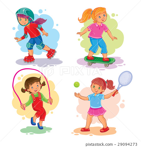 Set icons of girls playing tennis, jumping rope 29094273