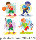 Set icons of boys playing basketball, football 29094278