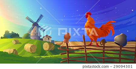 illustration rural summer landscape 29094301