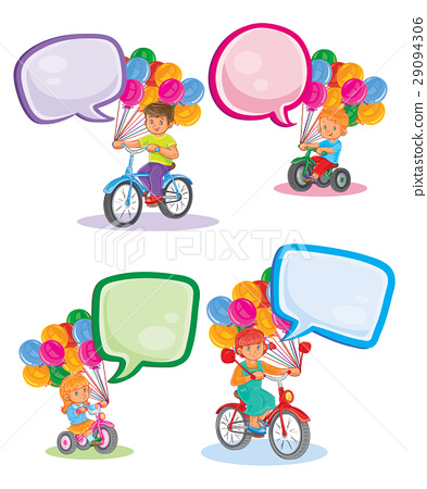 Set icons small children on bicycles 29094306