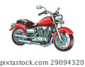 Hand-drawn vintage motorcycle. Classic chopper. 29094320