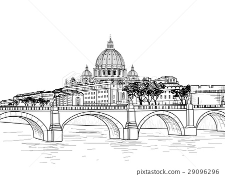 Rome city. Famous Vatican cathedral cityscape 29096296