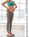 Cute pregnant woman standing on scale in her room 29097064
