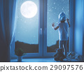 child girl at window dreaming starry sky at bedtime 29097576