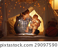 mother and child daughter with a book and a flashlight before go 29097590
