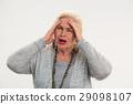 senior, woman, headache 29098107