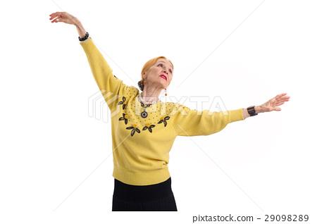 Dancing senior woman isolated. 29098289