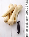 fresh parsnip and kitchen knife 29102728