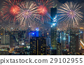 Top view of Bangkok Cityscape at night with Multicolor Firework Celebration, Mahanakhon 29102955