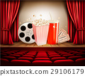 Cinema background with a film reel, popcorn 29106179