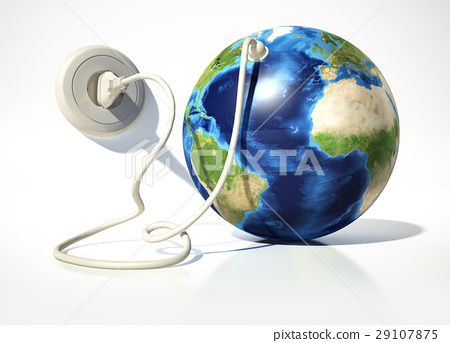 Planet Earth with electric cable, plug and socket. Source maps offered by Nasa. 29107875
