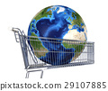 Planet Earth into supermarket trolley. Atlantic view. Source maps offered by Nasa. 29107885