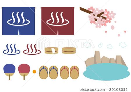 온천의 아이템 아이콘과 벚꽃 29108032