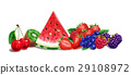 Various fruit composition, on white background. Airbrush illustration. 29108972