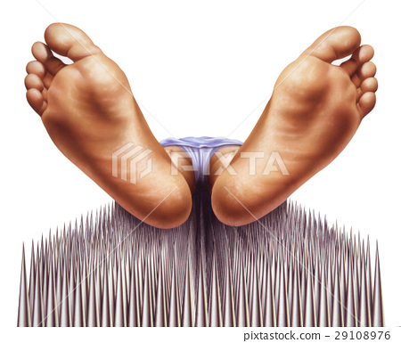 bed of nails with fakir viewed from feet 29108976