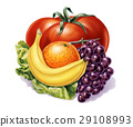 group of fruits and vegetables. 29108993