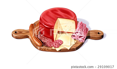Wood Cutting board, with a selection of different cheeses, salami, ham and wurstel, with a big red wax chees in the middle. 29109017