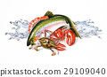 Group composition of different seafood and fish, with water splashes. Airbrush illustration. 29109040