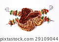 Grilled mixed steaks and skewers composition. Airbrush illustration. 29109044