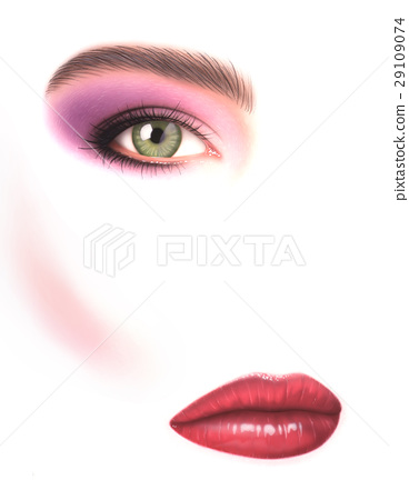 Beautiful woman, close-up of eye with make-up and mouth, on white. 29109074