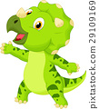 Cute baby triceratops cartoon 29109169