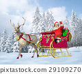 Santa Claus on his sleigh and reindeer on snow, with snow capped trees on background. 29109270