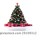 Christmas tree with golden balls and decoration. Below it there are several gifts packages. 29109312