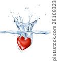 Shining heart, splashing into clear water. 29109323