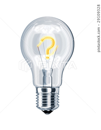 Light bulb with question mark at the place of incandescence. 29109328