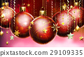Christmass abstract background with big decorated balls in foreground. 29109335