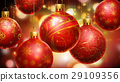 Christmass red/yellow abstract background with big decorated red balls in foreground. 29109356
