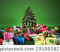Christmass tree with several gifts, in a green background. 29109382