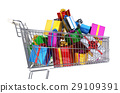 Supermarket trolley full of multicolored gifts. 29109391
