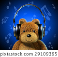 Teddy bear with music headphones. Blue background and musical notes. 29109395