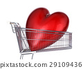 Supermarket trolley with big red shiny heart inside it. 29109436