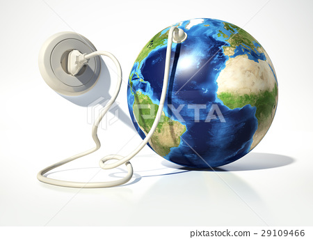 Planet Earth with electric cable, plug and socket. Source maps offered by Nasa. 29109466